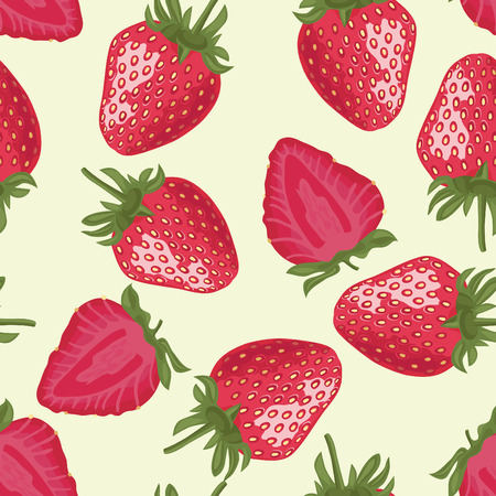 Vector Seamless Pattern with Red Strawberries