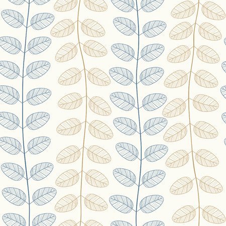 stripy: Vector seamless pattern of blue and gold leaves Illustration