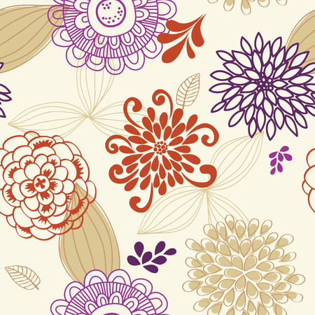 Vector seamless pattern of colored flowers and leaves