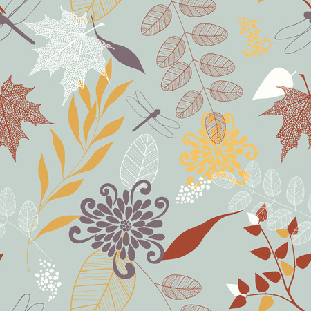 Vector Seamless Pattern of Flowers and Leaves Illustration