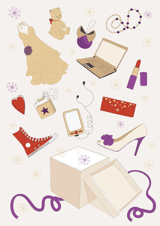 open present: Various gifts out of box