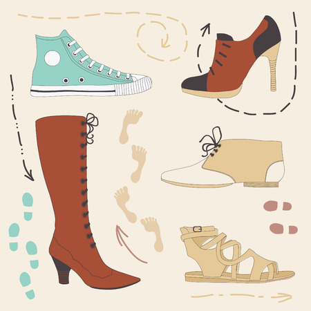 lacing sneakers: Set of various colored shoes