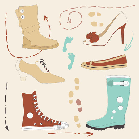 Set of various colored shoes Vector