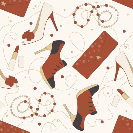 Vector Seamless Pattern of Shoes and Accessories Illustration