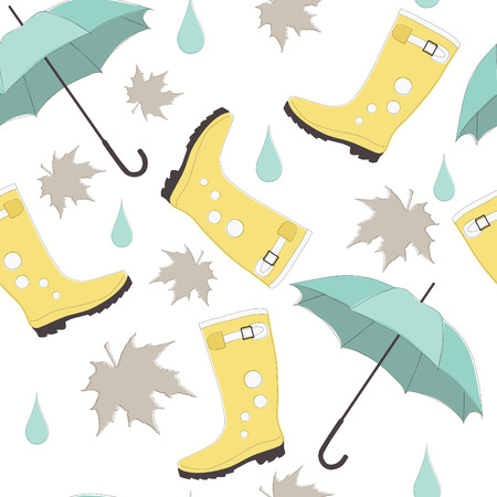 rain boots: Vector Seamless Pattern with Rubber Boots and Umbrellas Illustration