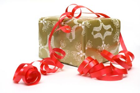 untied: Gift box in gold paper with untied red ribbon Stock Photo