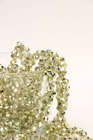 Golden decoration beads in glass photo