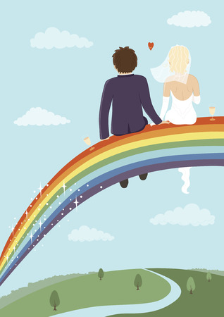 Bride and groom sitting on top of rainbow Vector
