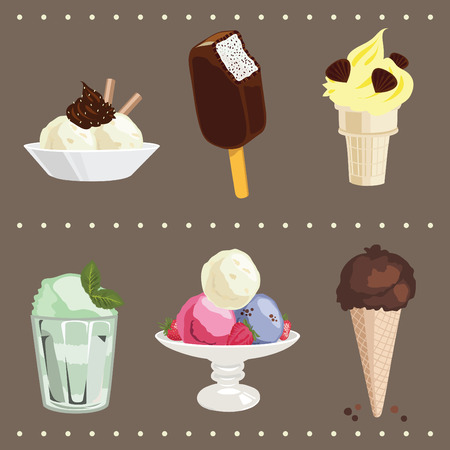 sundae: Colored ice ream icons set Illustration
