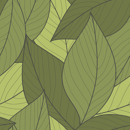 gray colors: Vector seamless pattern of green leaves Illustration