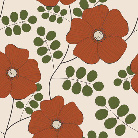 Vector seamless pattern of red flowers Vector