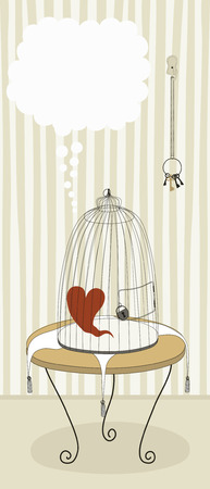 locked: Lonely heart in locked cage Illustration