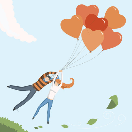 blue romance: Couple flying by orange heart balloon Illustration