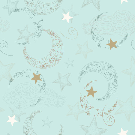 Vector seamless pattern with stars and crescent. Illustration