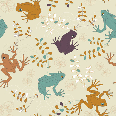 wrapping animal: Vector seamless pattern with colored frogs Illustration