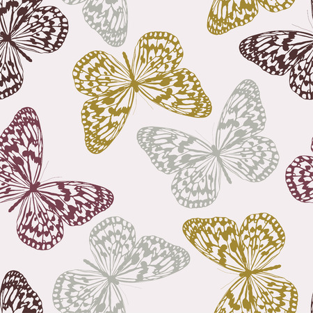 Vector seamless pattern with colored butterflies Illustration