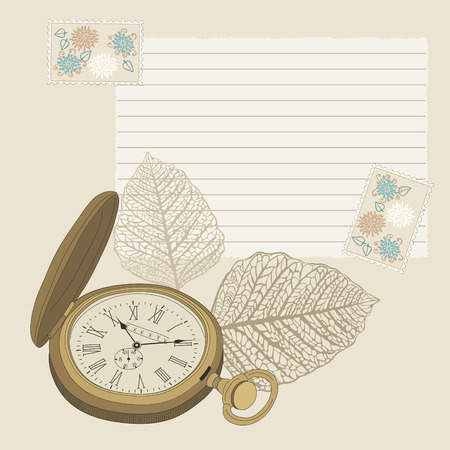 hands in pockets: Pocket watch and lined page Illustration