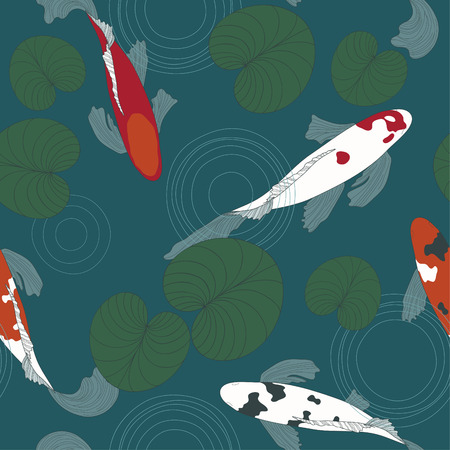 Vector seamless pattern with koi fish and lilies. Vector