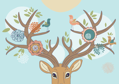 Deers antlers bloomed up in spring Vector