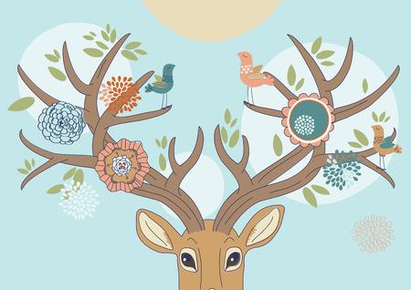 Deers antlers bloomed up in spring Vector