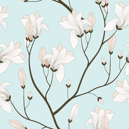 seamless pattern with light pink blooming branches