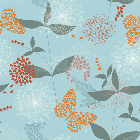 seamless pattern of flowers, leaves and butterflies