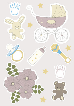 Set of baby objects stickers Vector