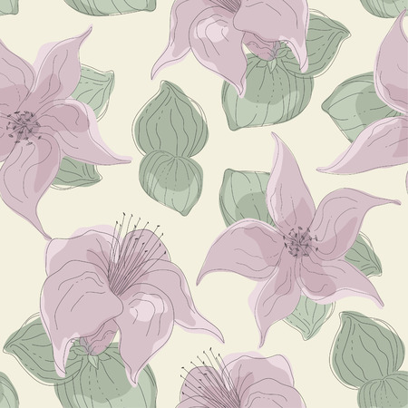 seamless pattern of pink flowers and leaves Illustration