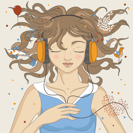 Girl listening music in headphones Vector