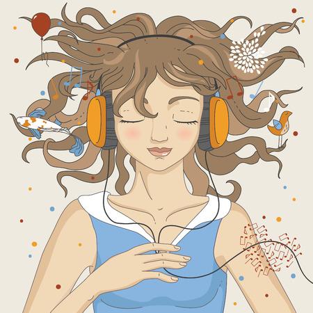 listening to music: Ni�a escuchar m�sica en auriculares