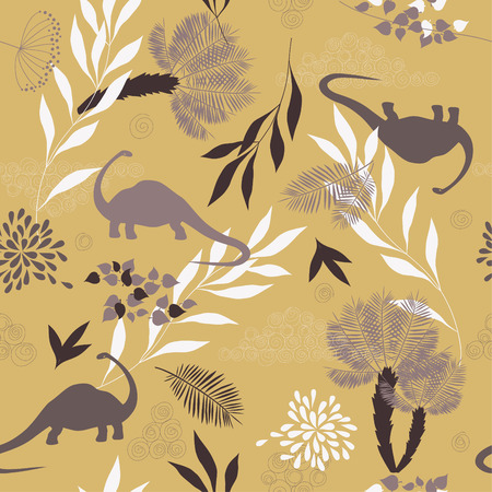 seamless pattern with leaves and dinosaurs Vector