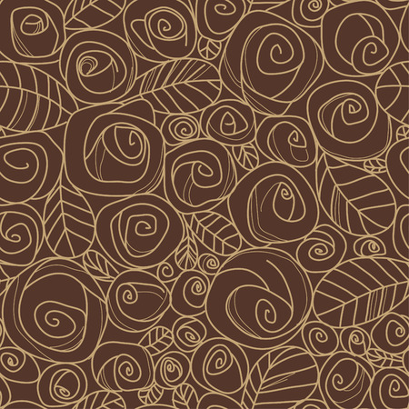 seamless pattern with drawing roses Vector