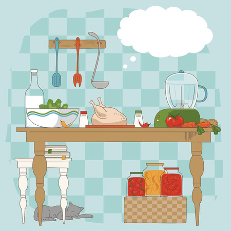 blue white kitchen: Kitchen table with utensils and ingredients for cooking