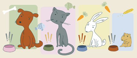 Angry hungry animals and their bowls Vector