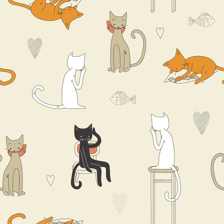 gray cat: Cat seamless pattern
