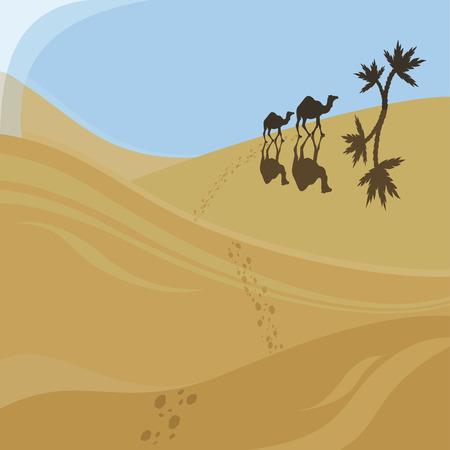 Twee kamelen lopen naar oasis