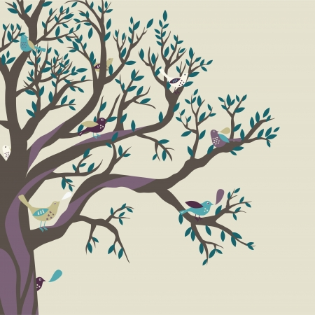 Colored birds on the big tree