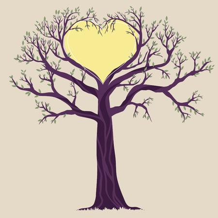 Illustration des einzigen Baum mit Herzform