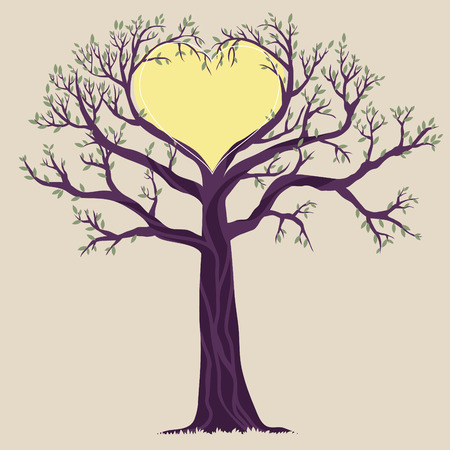 Illustration of single tree with heart shape Vector