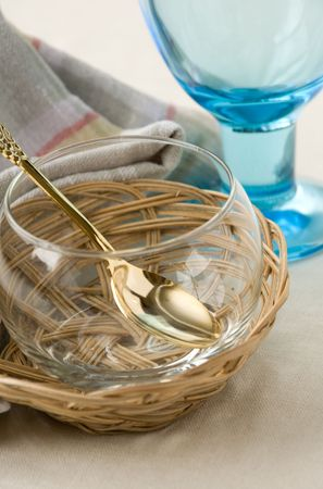 spliced: Clean glass and kitchen utensils Stock Photo