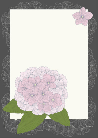 Frame with pink hydrangeas