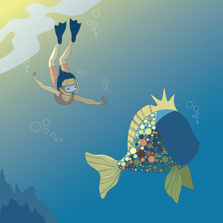 Little diving girl and big fish Illustration