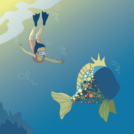 flippers: Poco chica buceo y peces grandes  Vectores