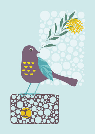 Little bird holding a flower Illustration