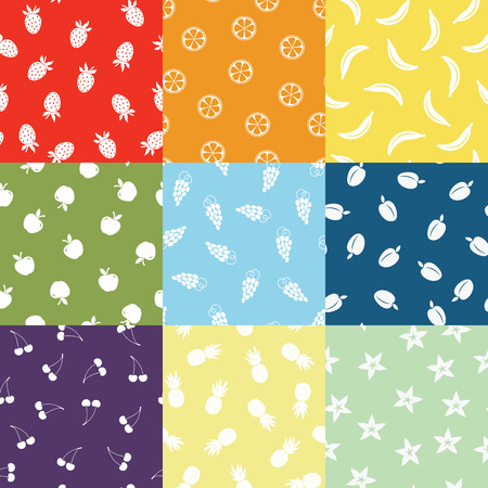 seamless colored fruit patterns Vector