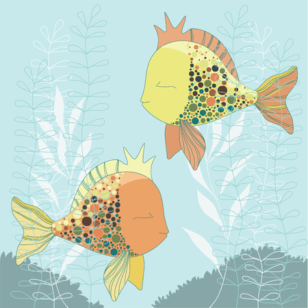Two goldfishes swiming in water Vector