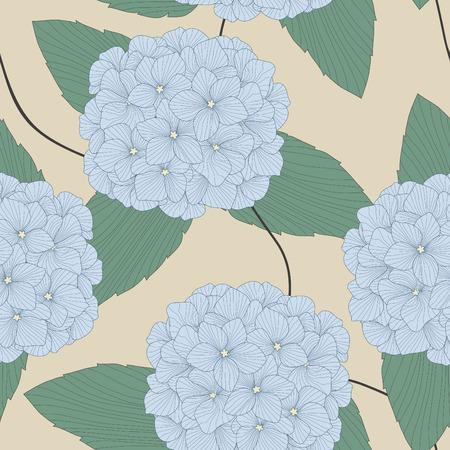 seamless pattern of blue hydrangeas Vector