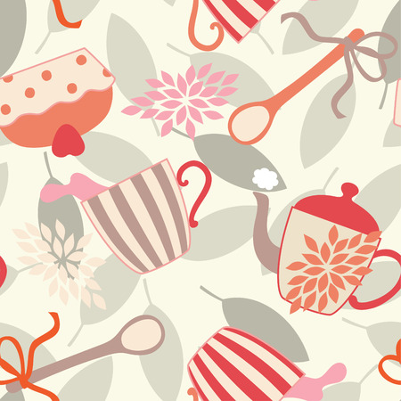 seamless pattern with cupcake, teapot and a cup of tea