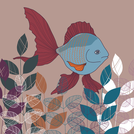 Blue fish with red fins in water Vector