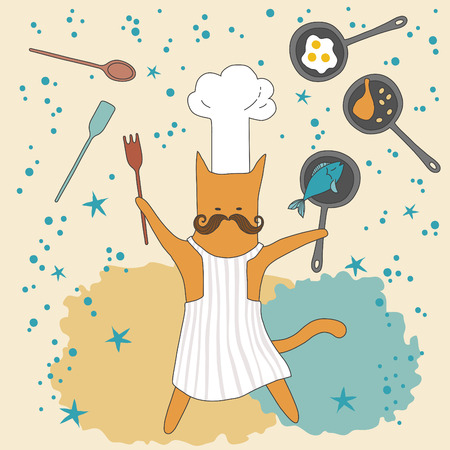 Funny cat the chef with frying pan Vector